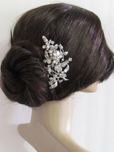 large crystal hair comb bridal hair comb wedding brooch comb bridal headpiece bridal hair accessories wedding pearl hair comb 55 00 via etsy