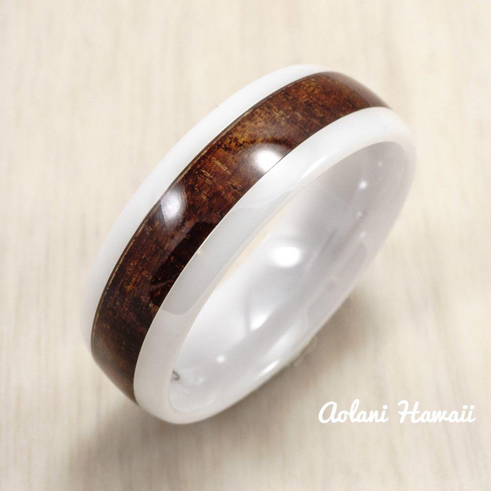 White ceramic ring with hawaiian koa wood mm mm width barrel