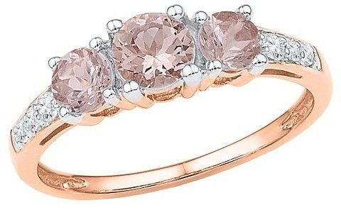 1/10 CT. T.W.  Round Diamond and Morganite Prong Set Fashion Ring in 10K Pink Gold