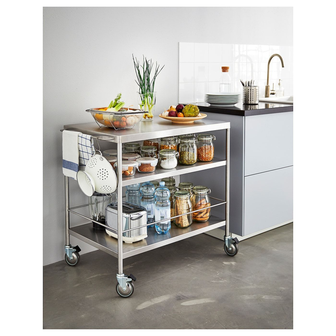 Flytta Kitchen Cart Stainless Steel 38 5 8x22 1 2 Met