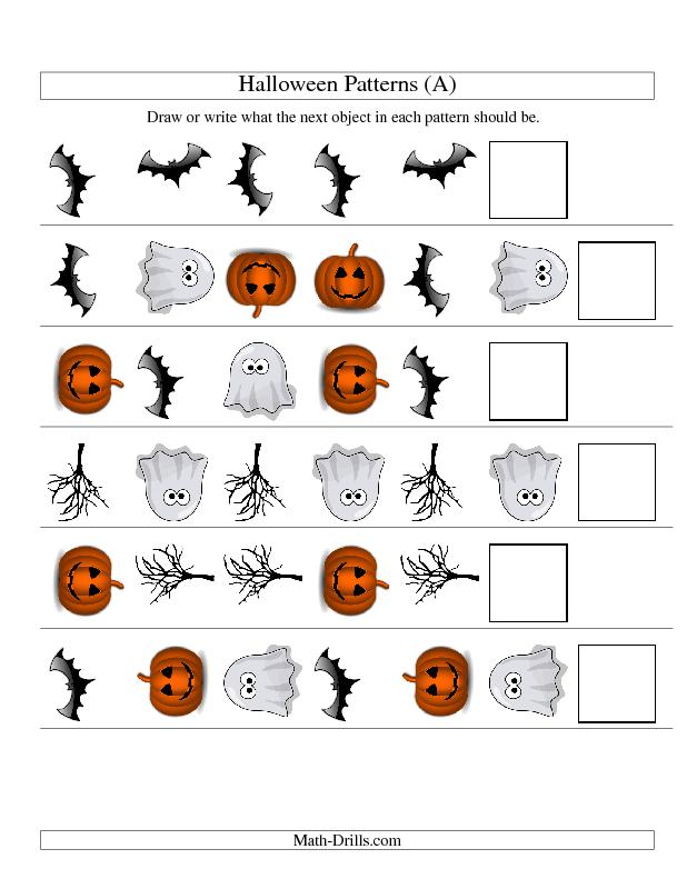 halloween math worksheet picture patterns two. Black Bedroom Furniture Sets. Home Design Ideas