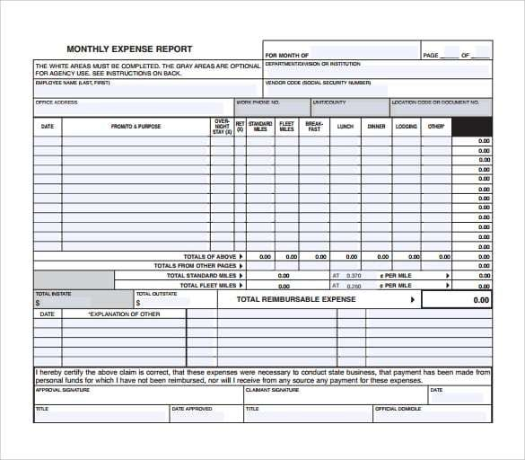 expense report template 9 Templates