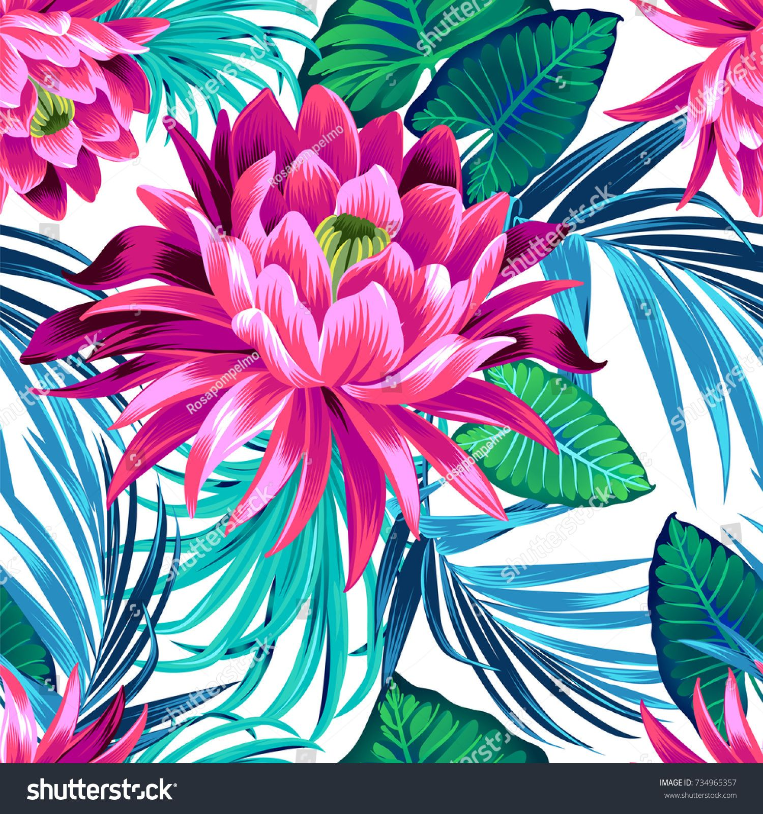 vector tropical pattern with waterlily, lotus flower
