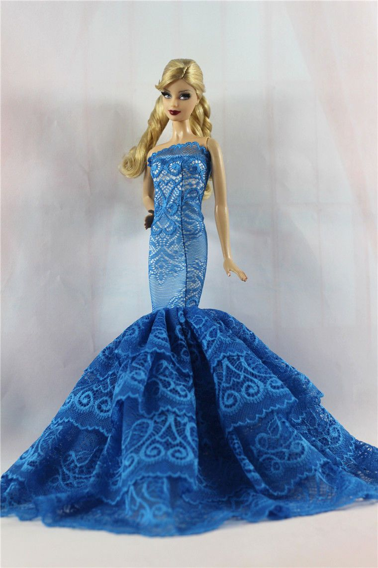 Blue Royalty Mermaid Dress Party Dress/Clothes/Gown For Barbie Doll ...