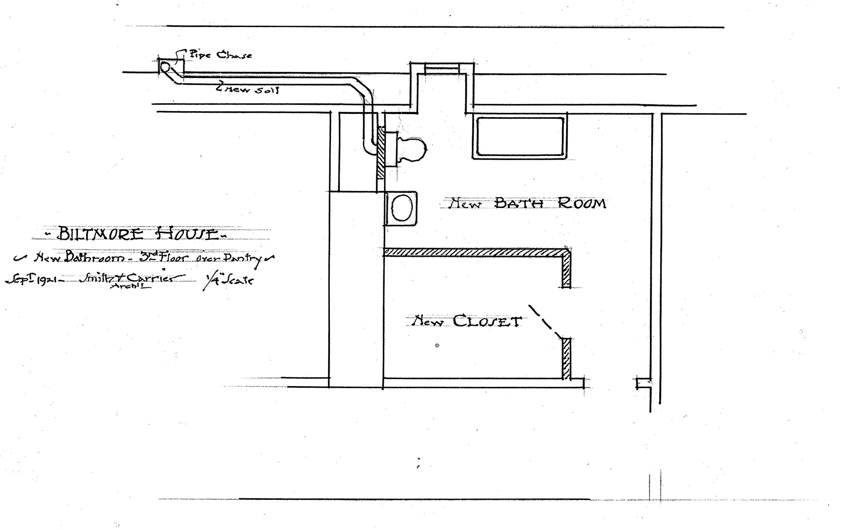 Biltmore House 2nd 1 2 Floor Bathroom Closet Floorplan On Half Floor Above Edith Vanderbilt S Maids Rooms Door Into This Can Be Seen From Hallway Just O