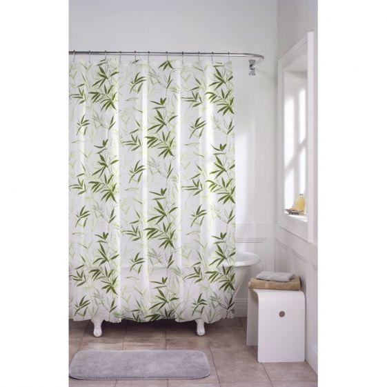 Maytex Zen Garden Bamboo Waterproof Peva Shower Curtain Green