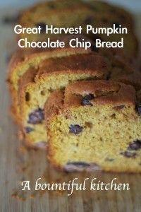Great Harvest Pumpkin Chocolate Chip Bread | Recipe ...