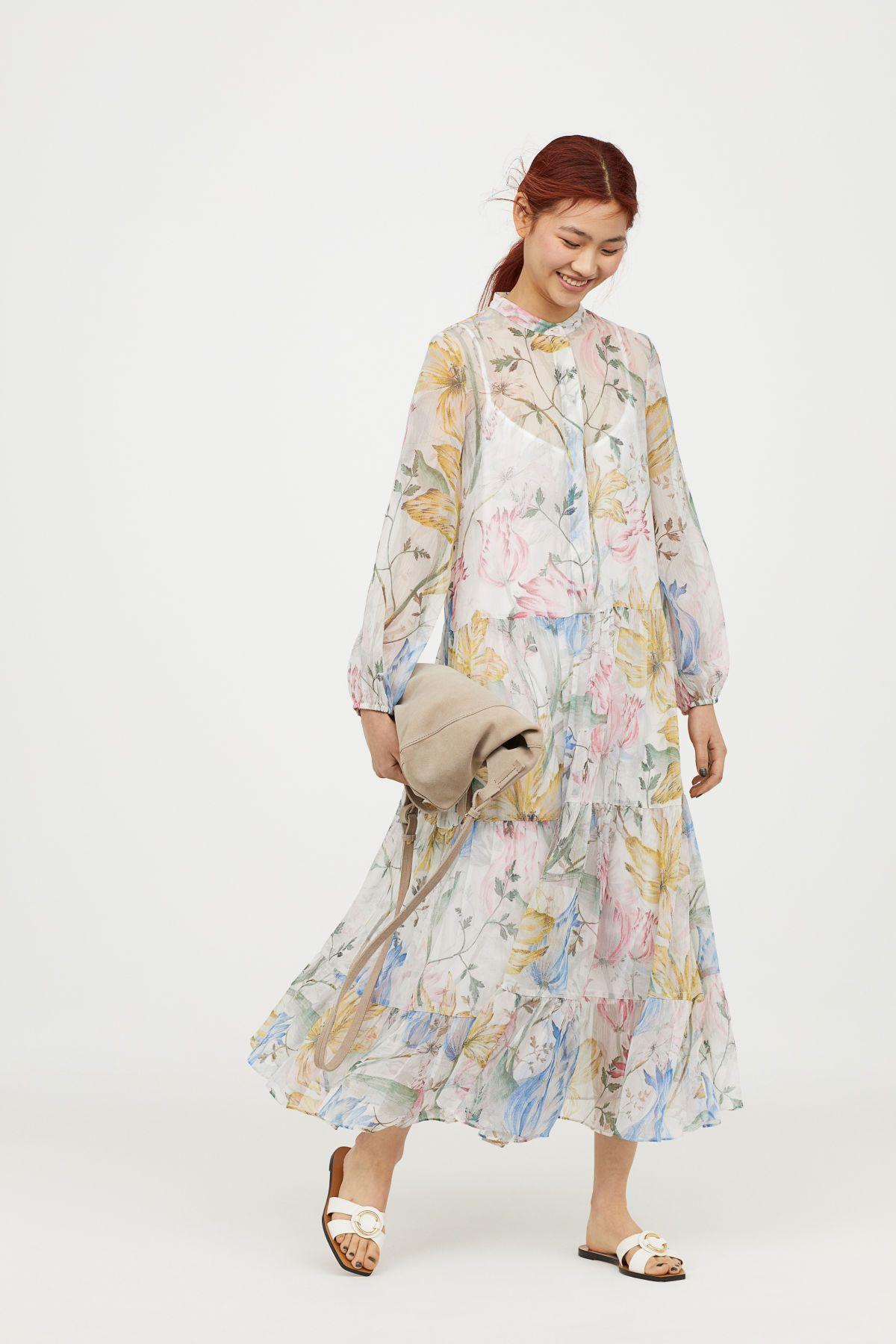 Gemustertes Chiffonkleid Weiss Geblumt Damen H M De Bedruckte Kleider Zelt Kleid Schone Kleider