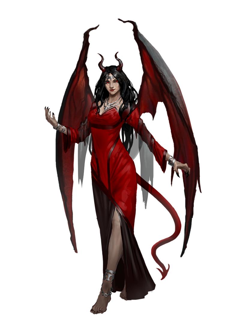 Succubus Demon - Red Dress - Pathfinder 2E PFRPG DND D&D 3 5