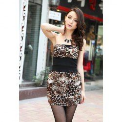 $8.93 Sexy Charming Off Shoulder Elastic Waist Leopard Slimming Sleeveless Dacron Dress For Women
