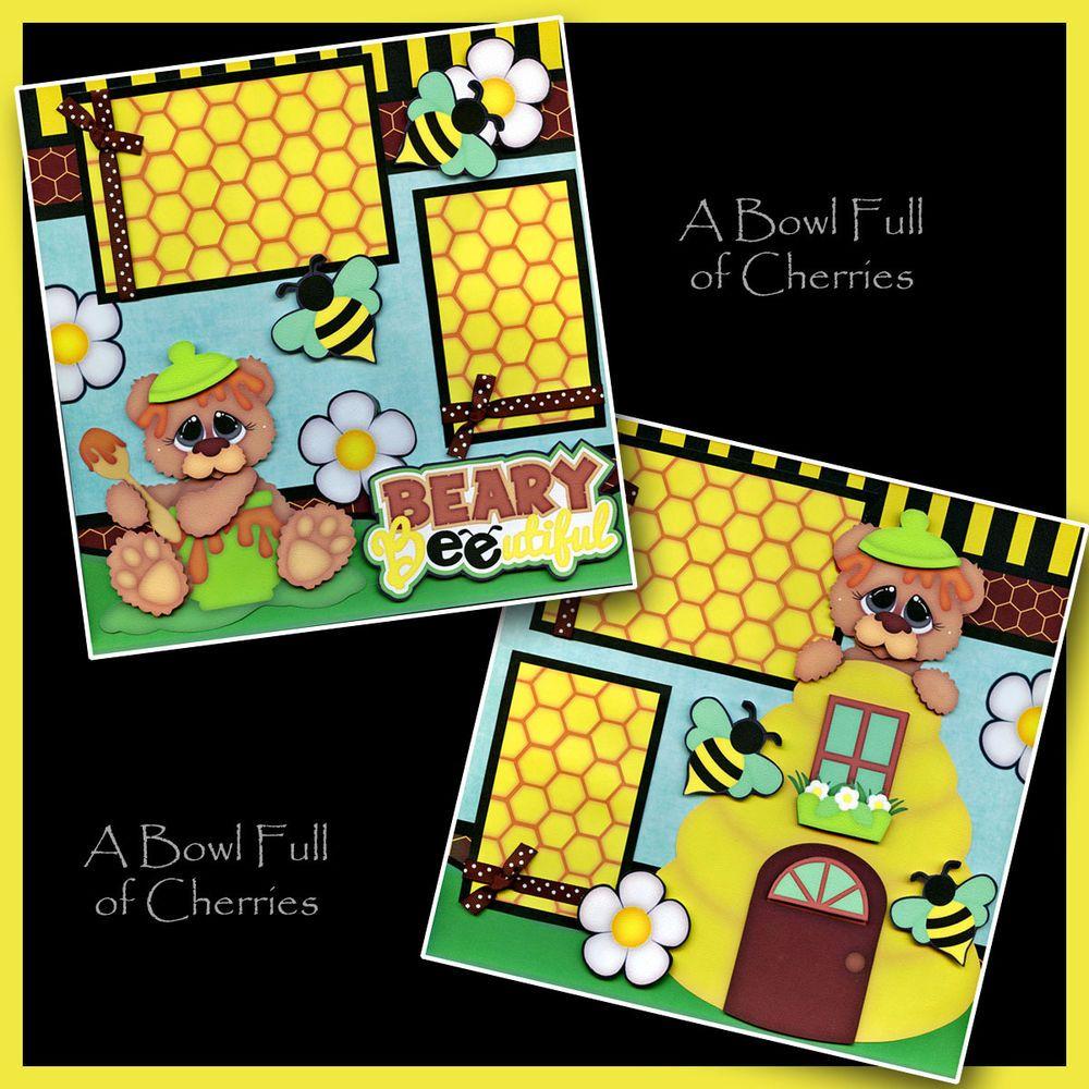 BEE-UTIFUL girl 2 Premade Scrapbook Pages paper piecing album layout BABY CHERRY #Handmade