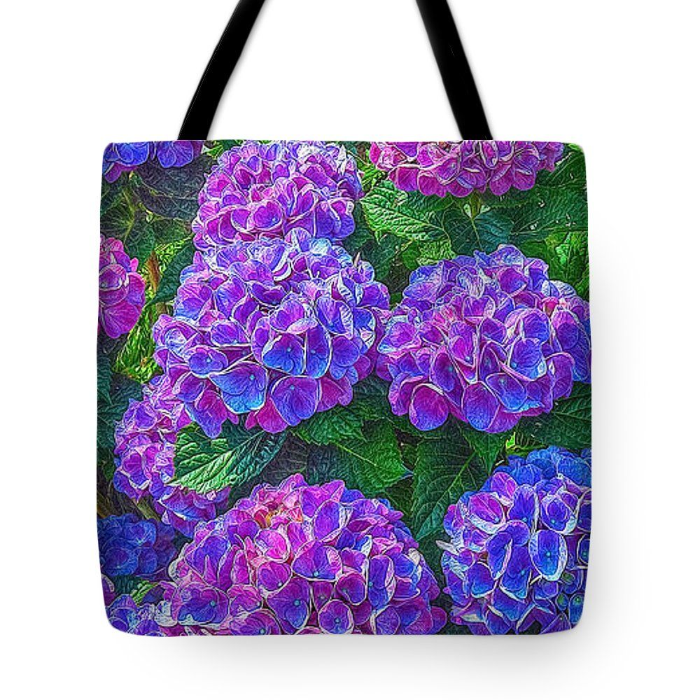 Flowers Tote Bag featuring the photograph Blue Hydrangea by Hanny Heim, Snowbird Photography