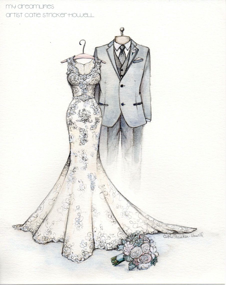 Wedding dress sketch from the groom to the bride