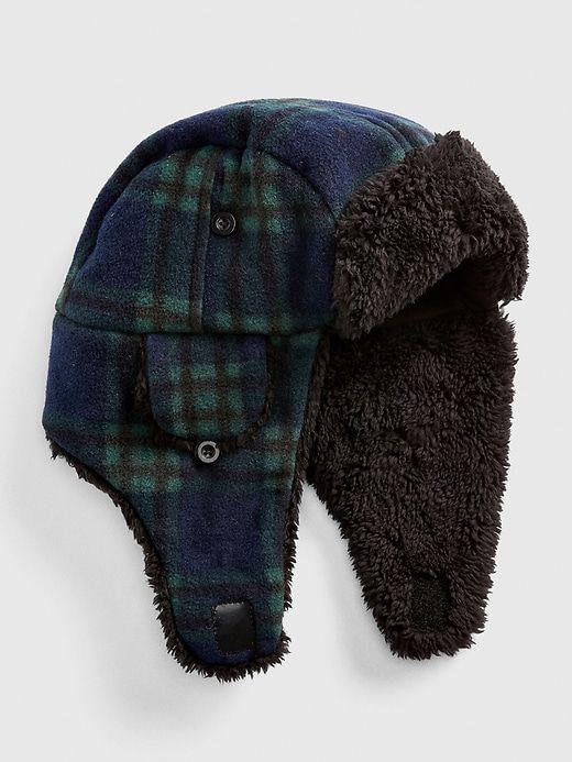 85134643861 Gap Baby Cozy Flannel Trapper Hat Blackwatch Plaid