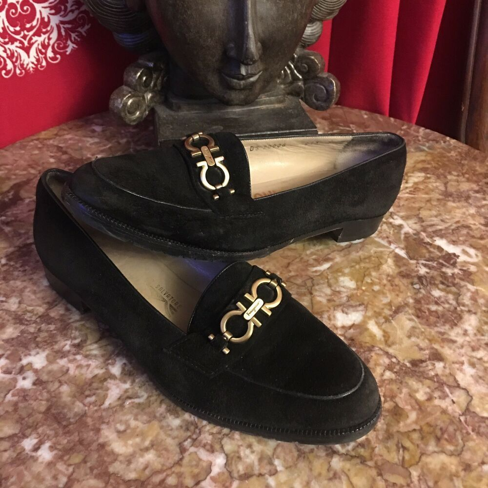 womens black loafers with gold buckle
