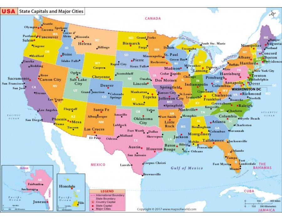 Buy United States Map US State Capitals and Major Cities