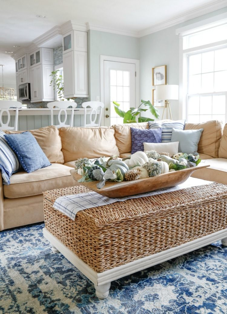 Navy and Neutral Fall Living Room + Kitchen Tour - Sand and Sisal #coastallivingrooms