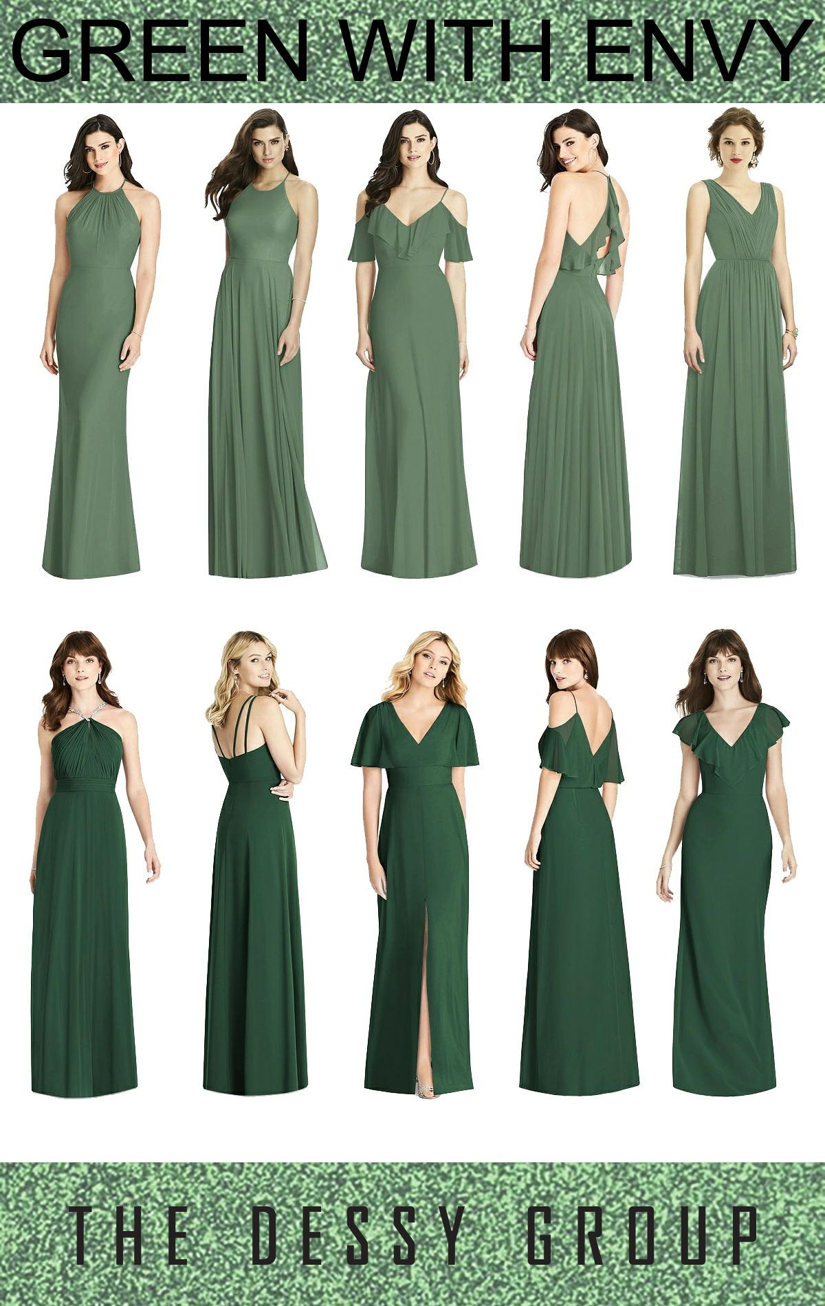 515e4b4314 Romantic fall green bridesmaids dresses will have everyone in envy. From  The Dessy Group.