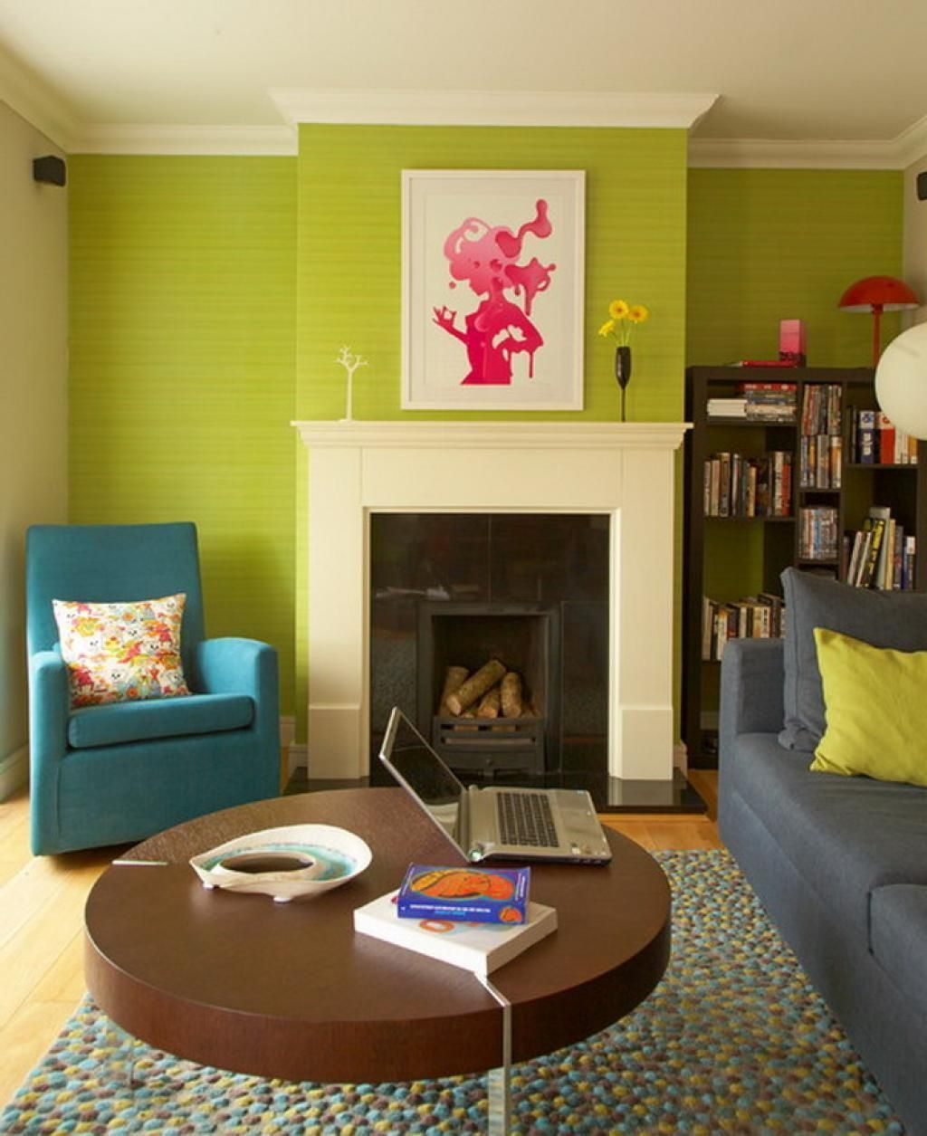 sweet green eclectic living room ideas with blue sofa and book