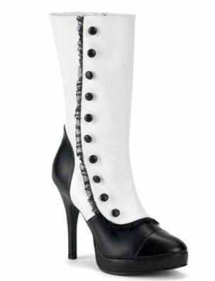 Spats Sexy Victorian Boots Blk/Wht Women's Boots Splendor
