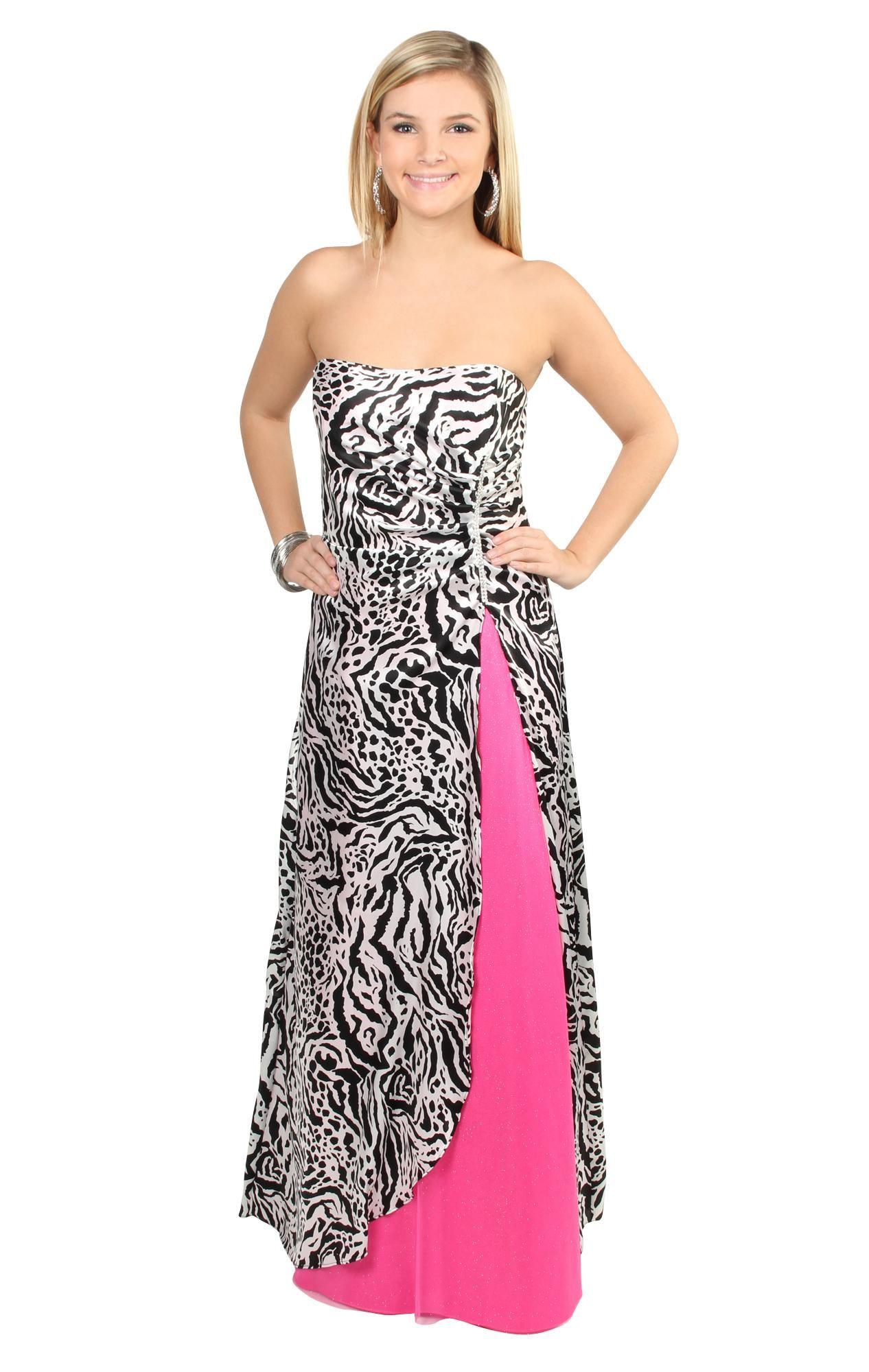 Strapless zebra print prom dress