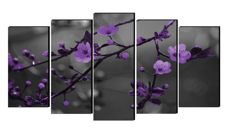 Cuadro paisaje con hojas de cerezo color morado lienzo for Decoracion y paisaje s a