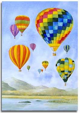 Original Watercolour Painting Of Hot Air Balloons By Artist Lesley