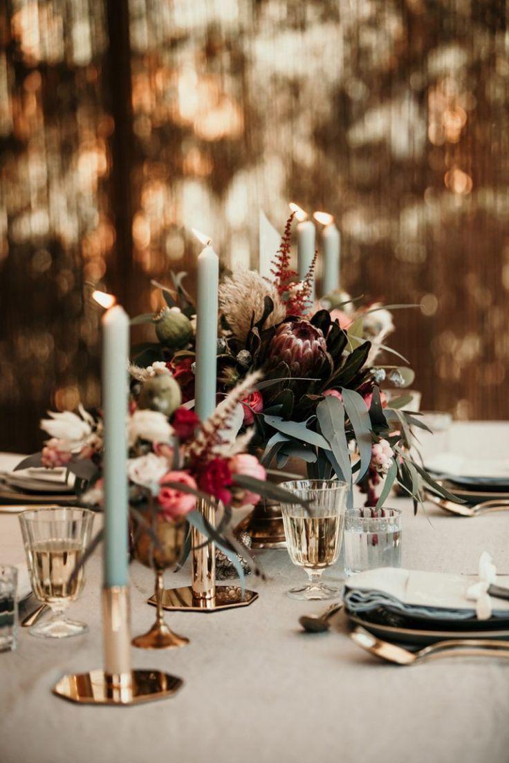 Hochzeitsdekoration in Gold und Minze