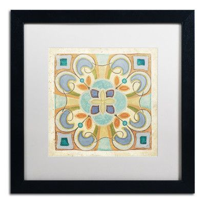 "Trademark Art 'Birds Garden Tile II' by Daphne Brissonnet Framed Painting Print Matte Color: White, Size: 16"" H x 16"" W"