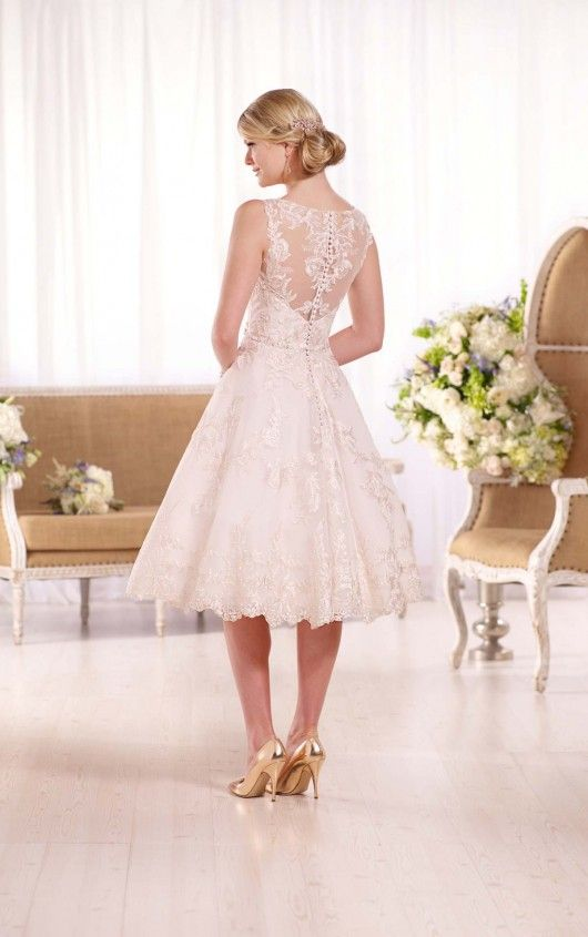 This exquisite embroidered knee-length wedding gown from Essense of ...
