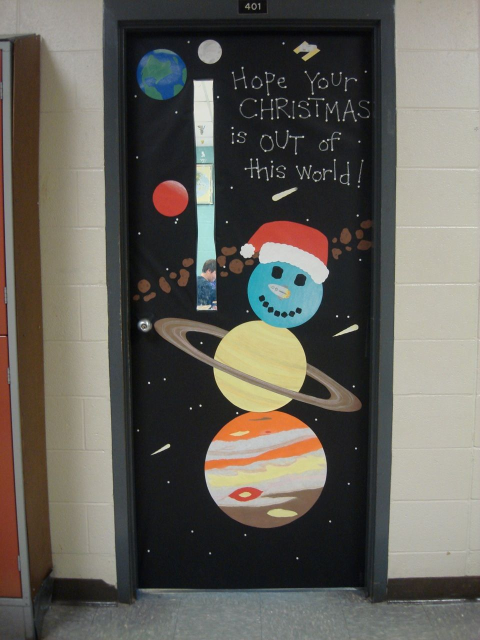 Christmas door decorating contest and the science Class door winter decorations