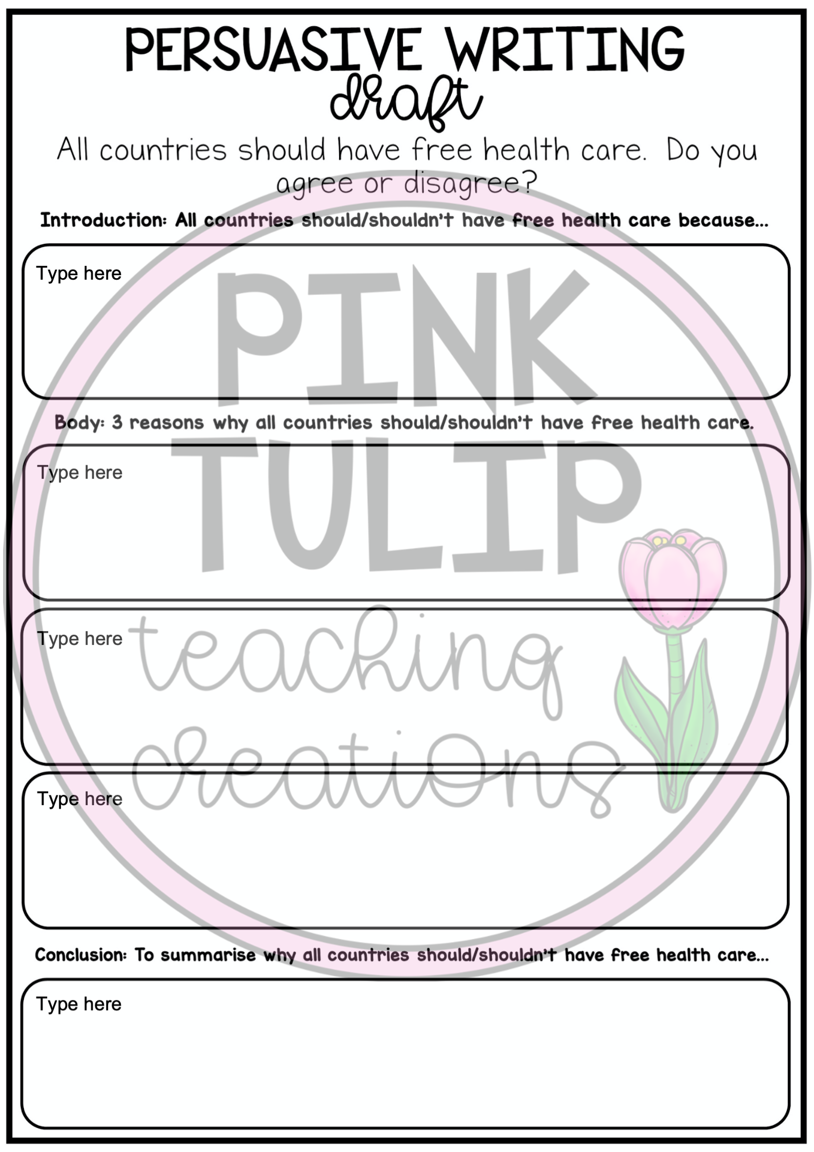 Persuasive Writing Worksheet Pack Slides