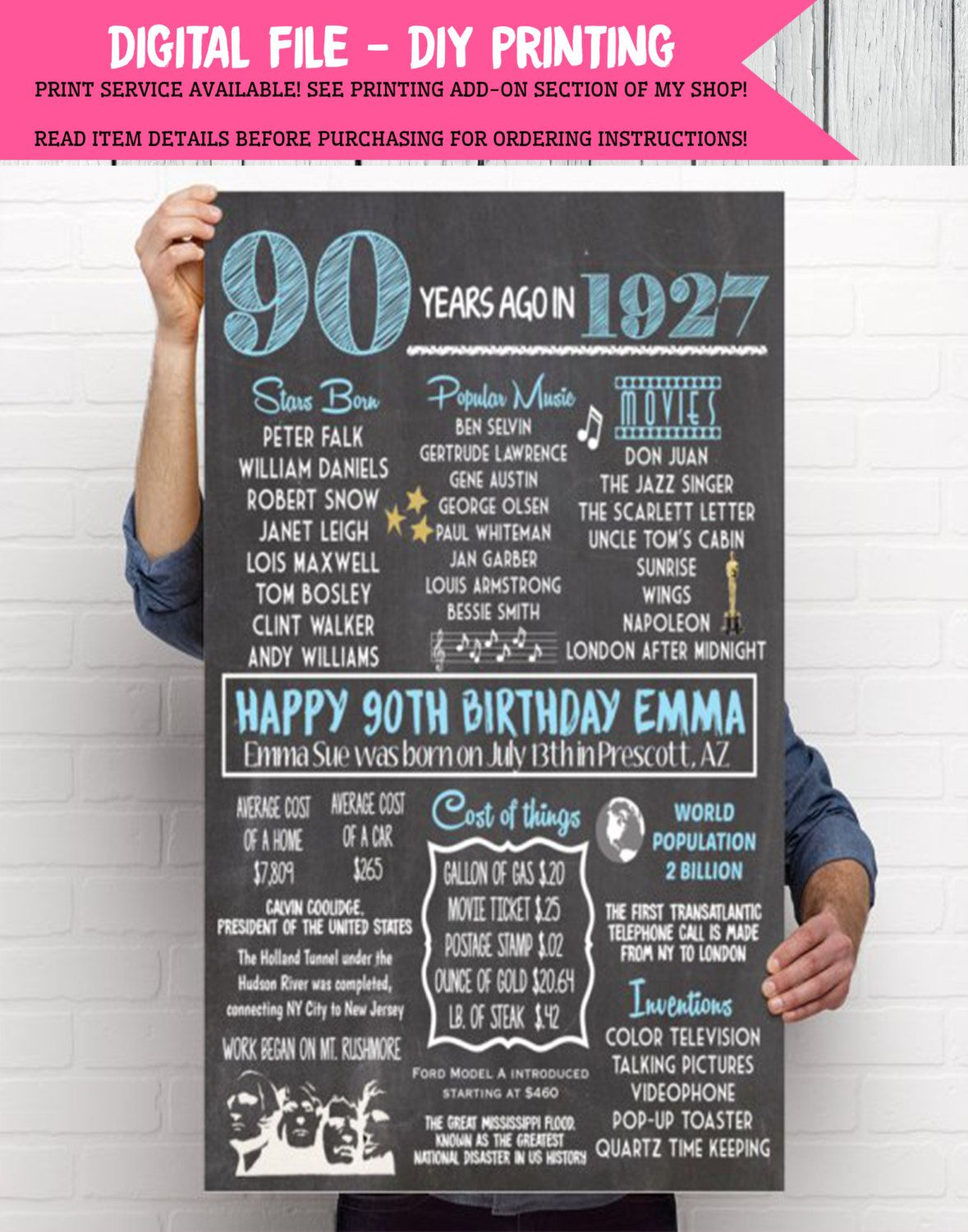 1927 90th Decor Personalized Birthday Chalkboard Sign Digital File DIY Printing 01 By EmmaSueBowtique On Etsy