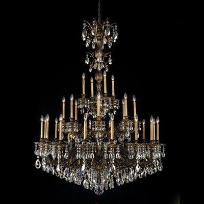 Schonbek Milano 28 Light Crystal Chandelier Finish: Heirloom Bronze, Crystal Type: Swarovski Elements Golden Teak