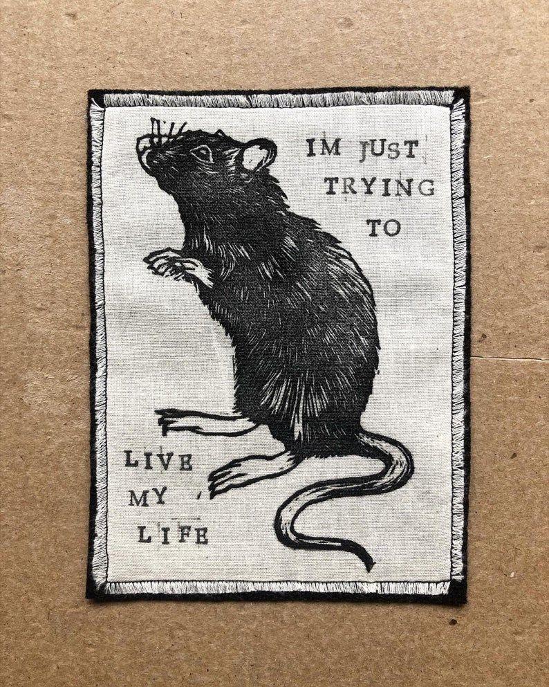 Handmade Iron on Rat Patch - Rat Patch - Rat Acces