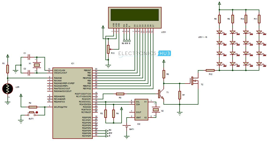 Auto Intensity Control of Street Lights Circuit using