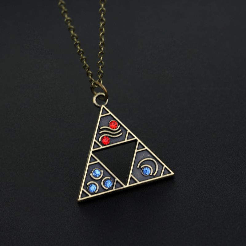 Anime The Legend of Zelda Triforce Necklace Triangle Otaku Pendant Bronze Hot //Price: $14.90 & FREE Shipping //   #naruto #anime #triangle love anime Anime The Legend of Zelda Triforce Necklace Otaku Pendant Bronze