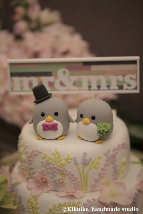 Penguins wedding cake topper by kikuike on Etsy