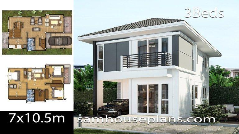 House Design Idea 7x10 5 With 4 Bedrooms Sam House Plans Indiansmallhouseplans Smallhouseplanswithcarport In 2020 House Design Modern House Design Exclusive Home