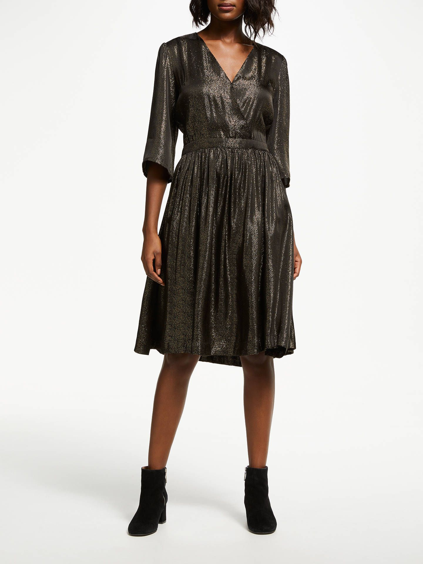 c242c0dc30 BuyJust Female Audrey Pleat Flared Dress, Dark Gold, L Online at johnlewis .com