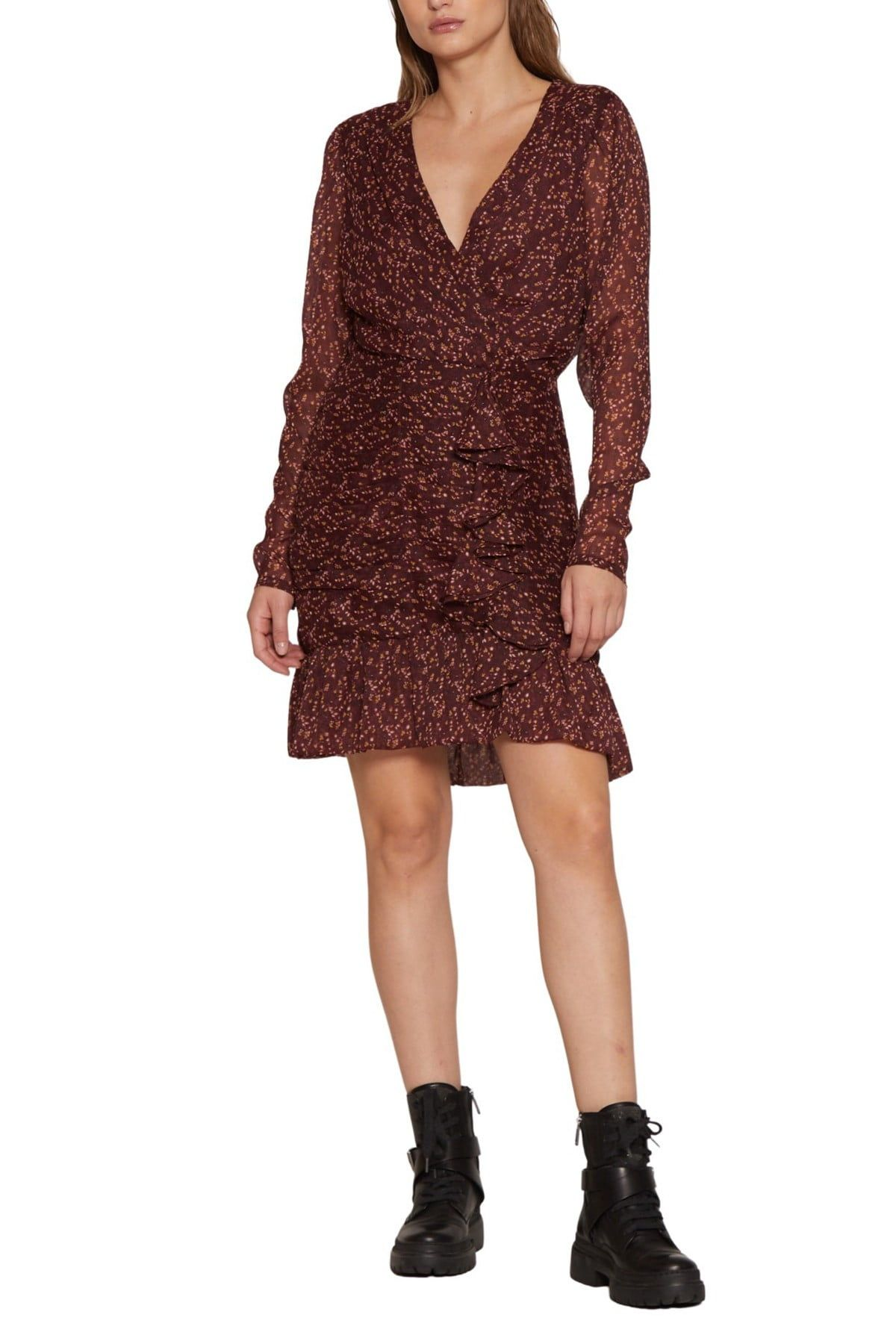 Walter Baker Tyrus Ruffled Long Sleeve Faux Wrap Dress Nordstrom Rack Wrap Dress Ruffle Long Sleeve Nordstrom Dresses [ 1800 x 1200 Pixel ]