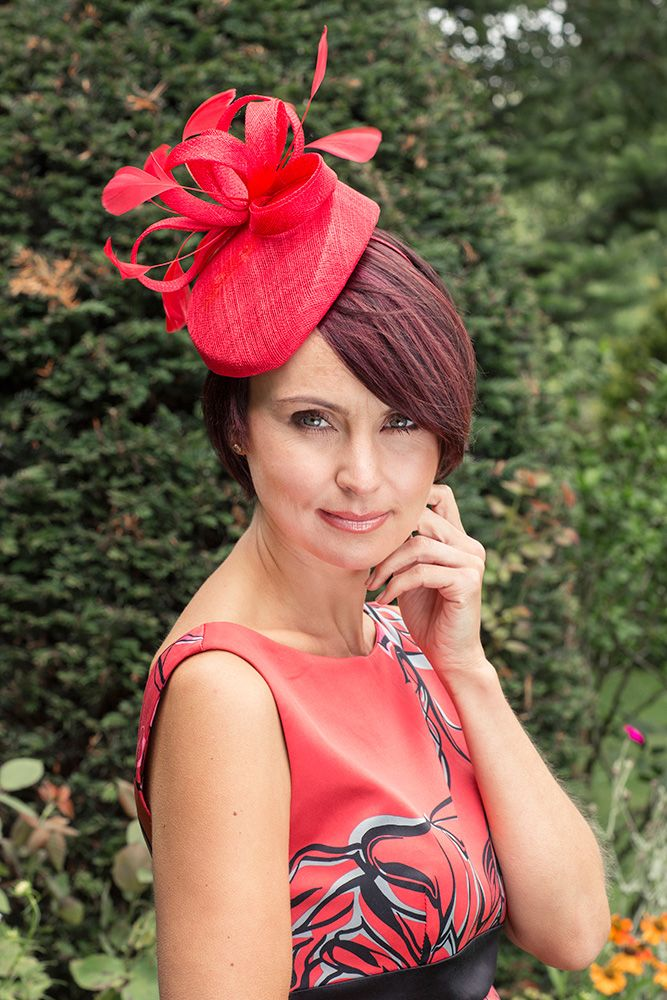 Niche Pillar Box Style Fascinator with Feather Detail in Red  e976dc18ee3