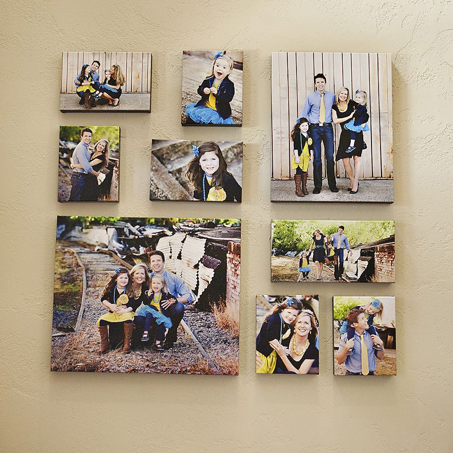 Canvas wall clusters and coffee table books canvas