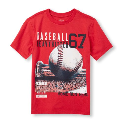 e122aaaff45 s Boys Short Sleeve  Baseball Heavy Hitter  Graphic Tee - Red T-Shirt - The  Children s Place