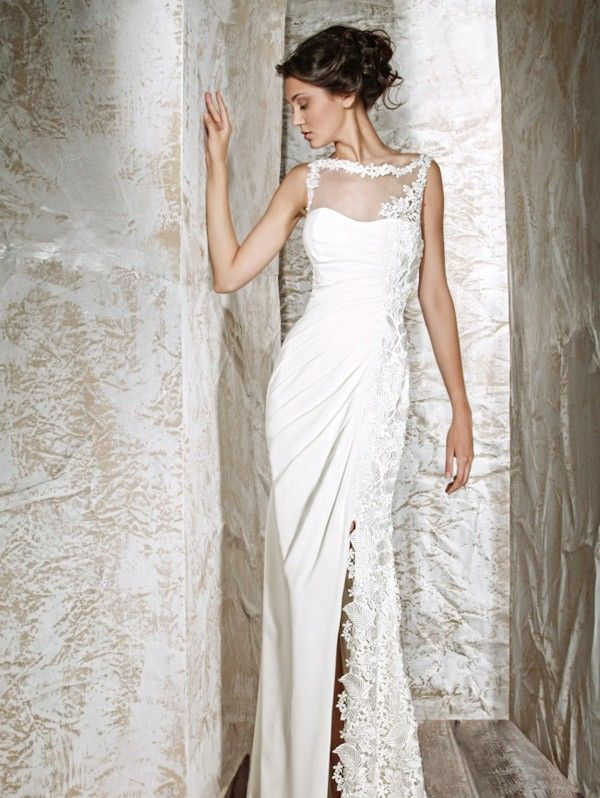Beautiful clara simple wedding dress with classical lace