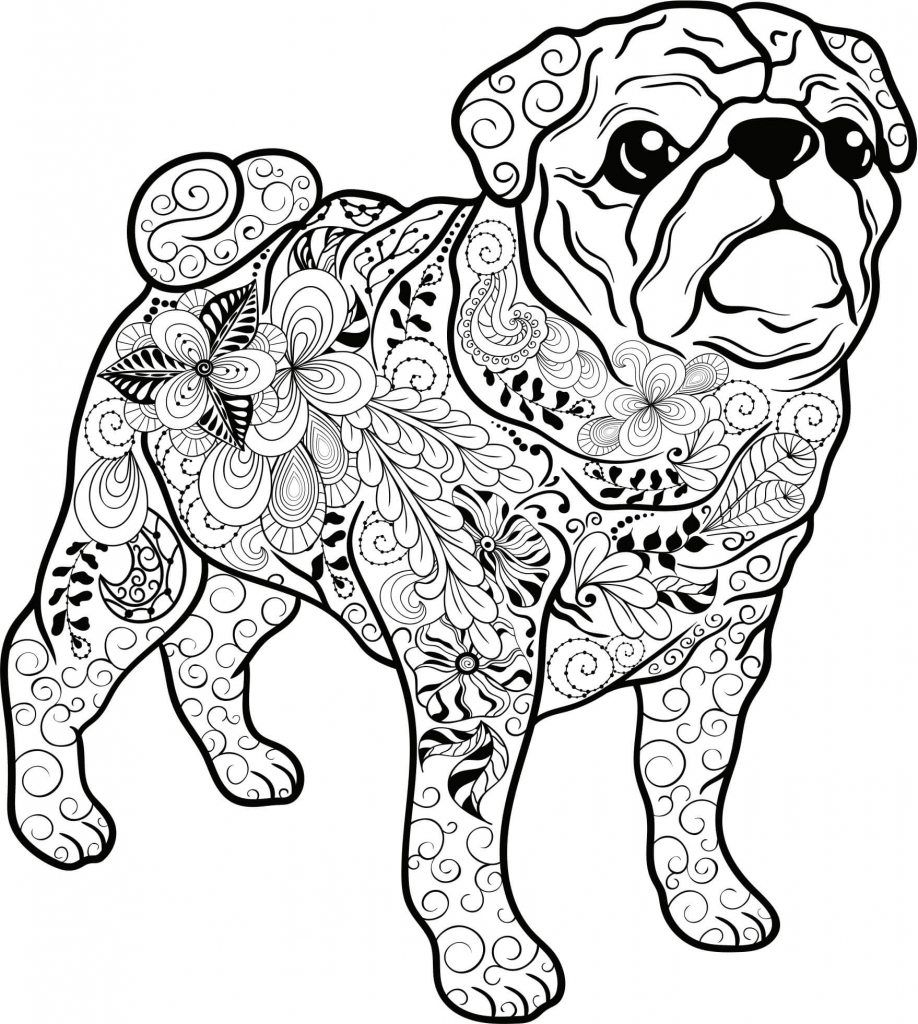 Ausmalbilder Erwachsene Hunde : Mandala Hund Mops Julia Pinterest