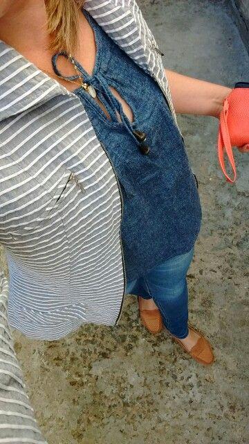 Combinação, jeans e listras !! #meulooksim