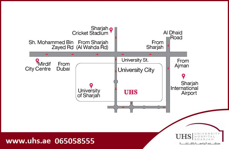 Location Map Of University Hospital Sharjah Uhs For