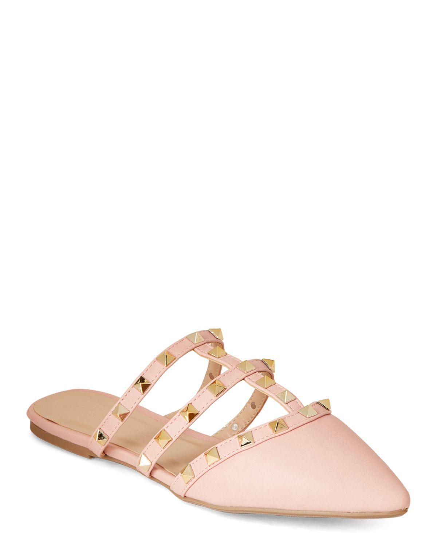 20f44ecb Wild Diva Light Blush Pippa Studded Mules | *Apparel & Accessories ...