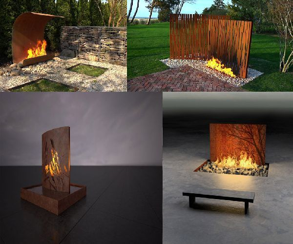 unique outdoor decorating ideas unique modern indoor and outdoor fireplace design by colombo - Outdoor Fireplace Design Ideas